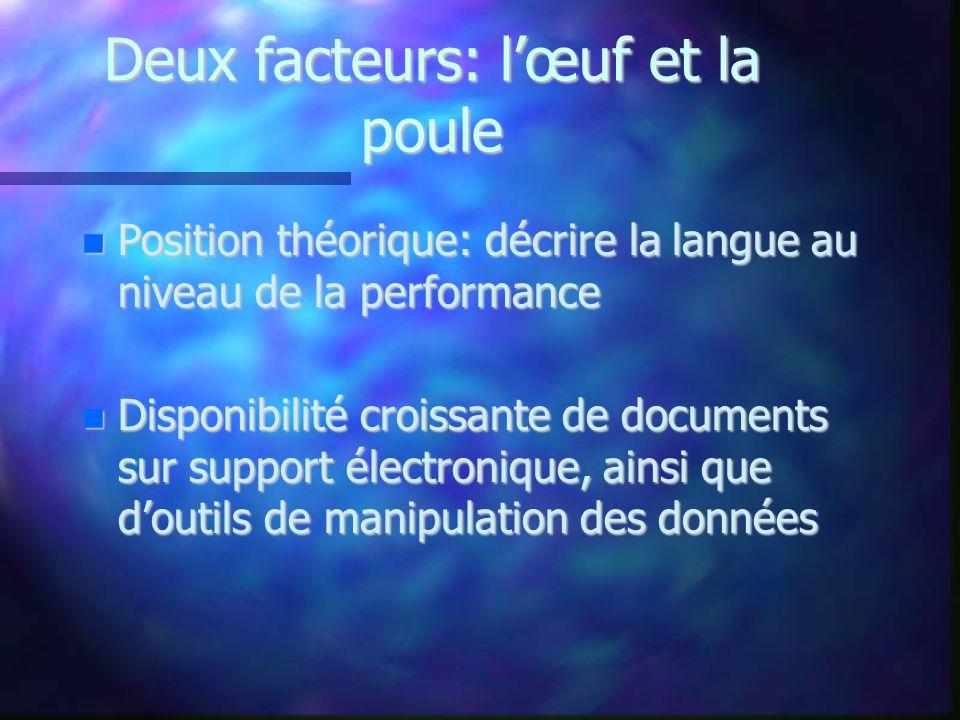 Deux facteurs: lœuf et la poule Position théorique: décrire la langue au niveau de la performance Position théorique: décrire la langue au niveau de l