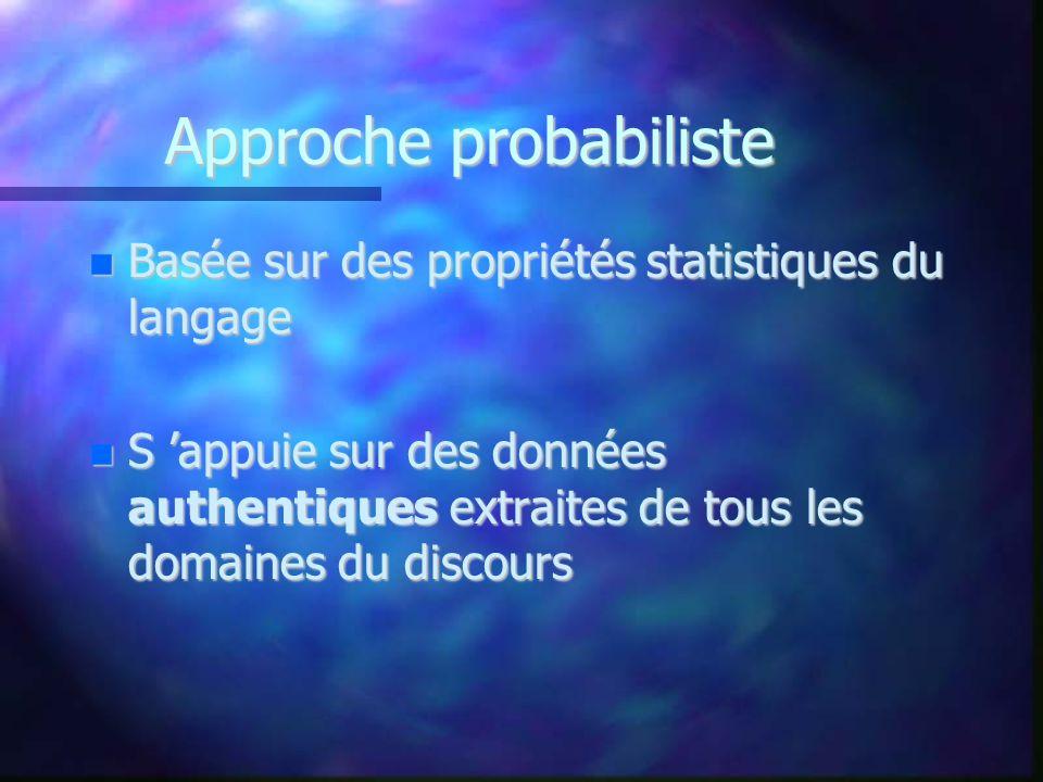 Approche probabiliste Basée sur des propriétés statistiques du langage Basée sur des propriétés statistiques du langage S appuie sur des données authe