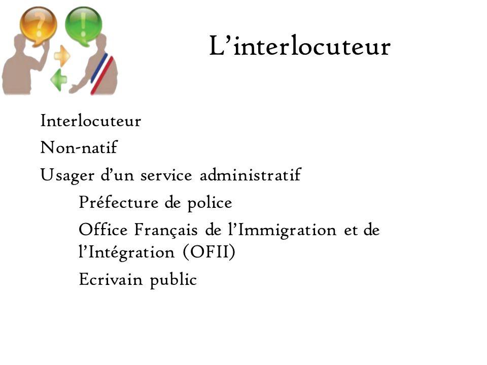 Linterlocuteur Interlocuteur Non-natif Usager dun service administratif Préfecture de police Office Français de lImmigration et de lIntégration (OFII) Ecrivain public