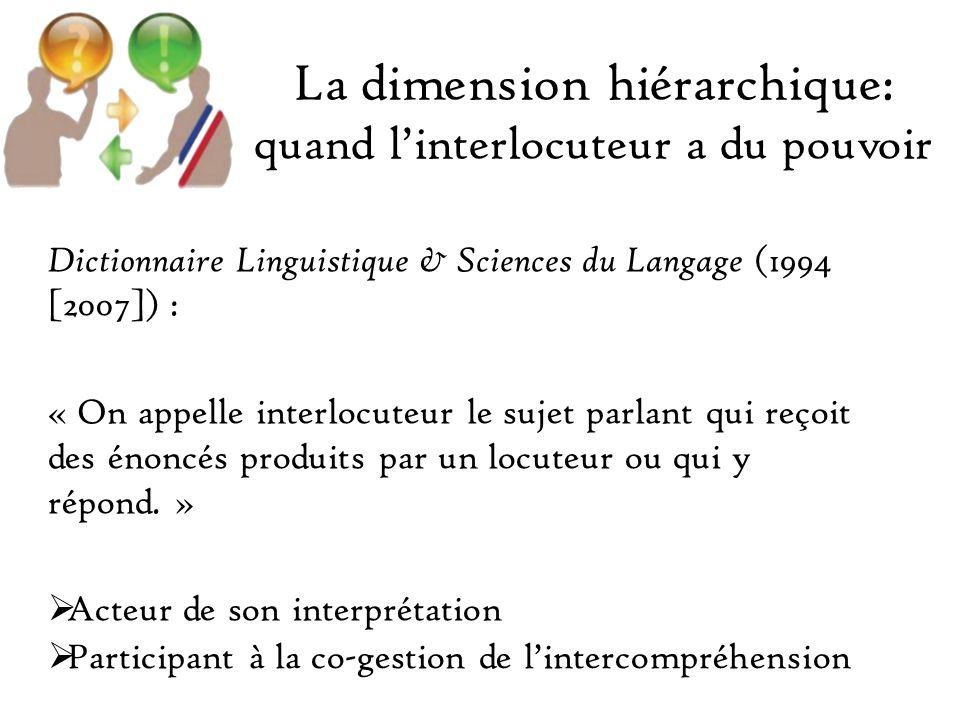 La dimension hiérarchique: quand linterlocuteur a du pouvoir Dictionnaire Linguistique & Sciences du Langage (1994 [2007]) : « On appelle interlocuteur le sujet parlant qui reçoit des énoncés produits par un locuteur ou qui y répond.
