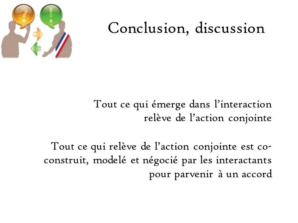 Conclusion, discussion Tout ce qui émerge dans linteraction relève de laction conjointe Tout ce qui relève de laction conjointe est co- construit, modelé et négocié par les interactants pour parvenir à un accord