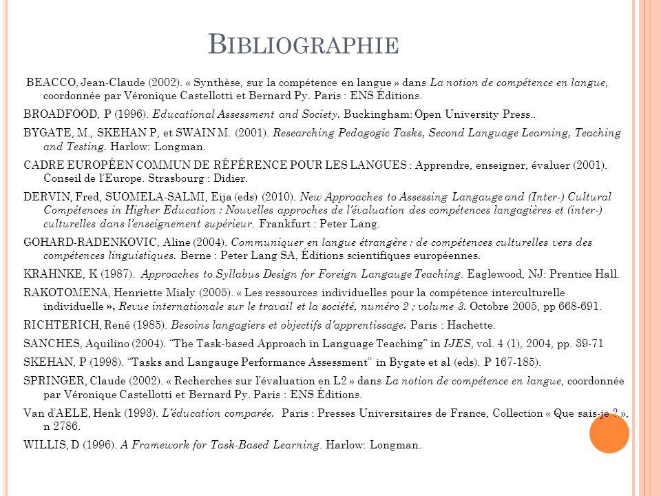 B IBLIOGRAPHIE BEACCO, Jean-Claude (2002). « Synthèse, sur la compétence en langue » dans La notion de compétence en langue, coordonnée par Véronique