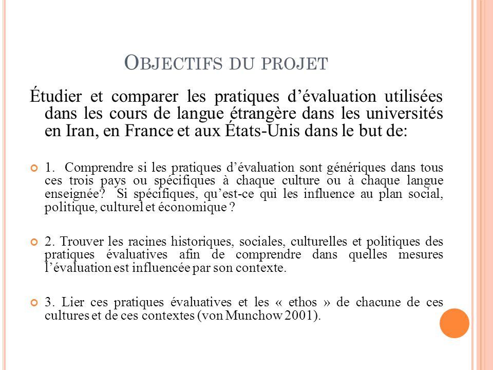 O BJECTIFS DU PROJET Étudier et comparer les pratiques dévaluation utilisées dans les cours de langue étrangère dans les universités en Iran, en Franc
