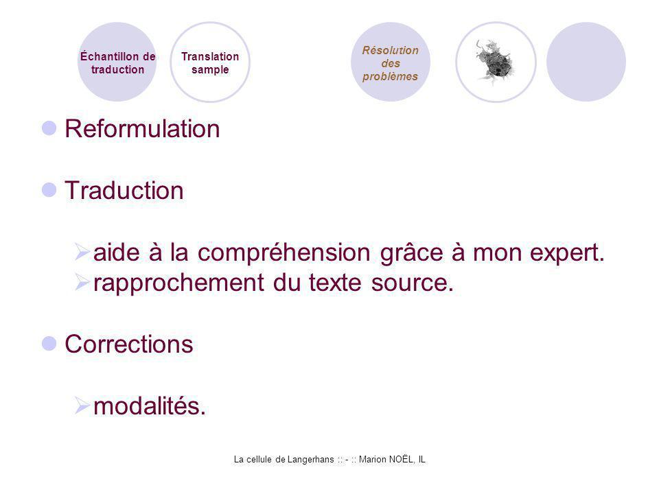 La cellule de Langerhans :: - :: Marion NOËL, IL Reformulation Traduction aide à la compréhension grâce à mon expert. rapprochement du texte source. C
