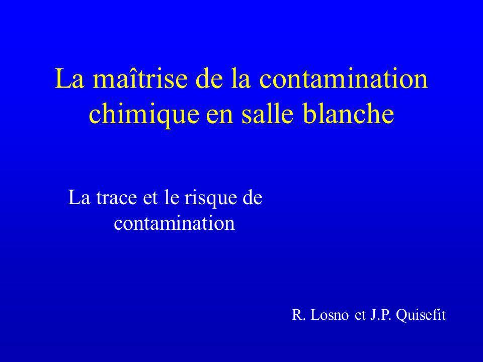 La maîtrise de la contamination chimique en salle blanche La trace et le risque de contamination R.