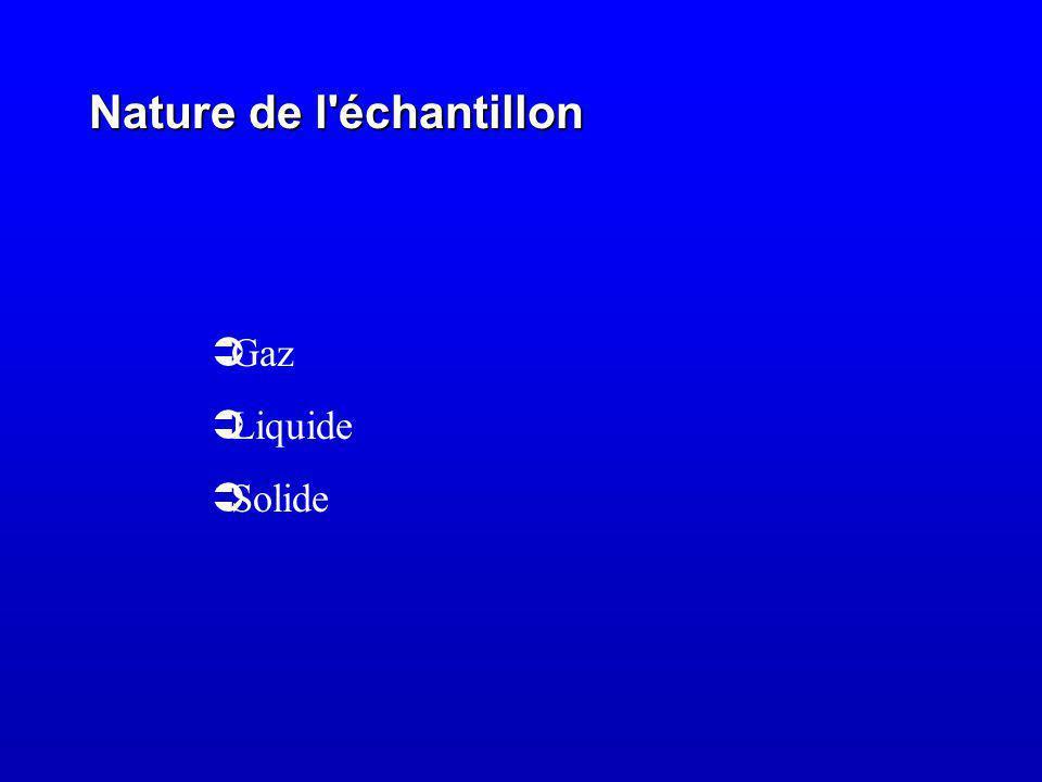 Nature de l échantillon Gaz Liquide Solide