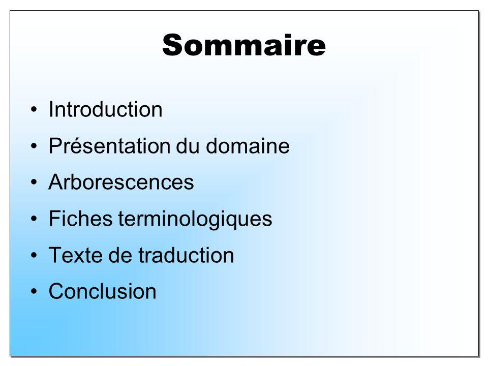 Sommaire Introduction Présentation du domaine Arborescences Fiches terminologiques Texte de traduction Conclusion