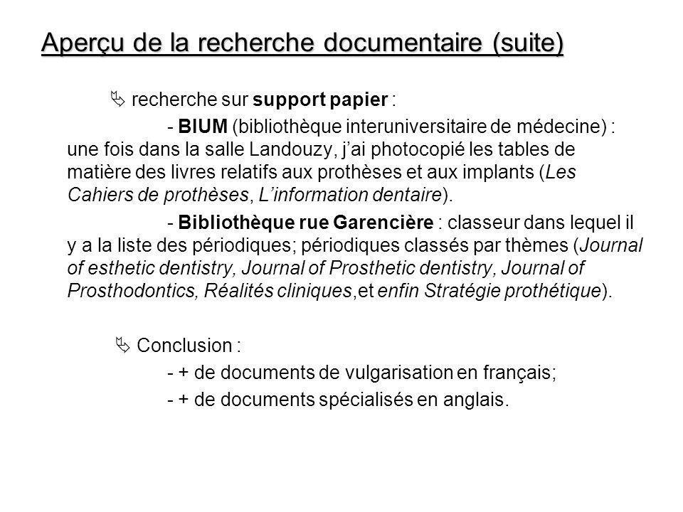 Aperçu de la recherche documentaire (suite) recherche sur support papier : - BIUM (bibliothèque interuniversitaire de médecine) : une fois dans la sal