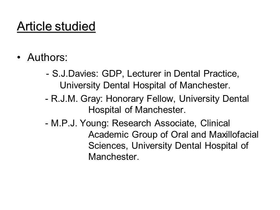 Domain: - Prosthodontics Publication: - British Dental Journal, volume 198, no.2 - Date: 2 January 2002 Public: - Dentists
