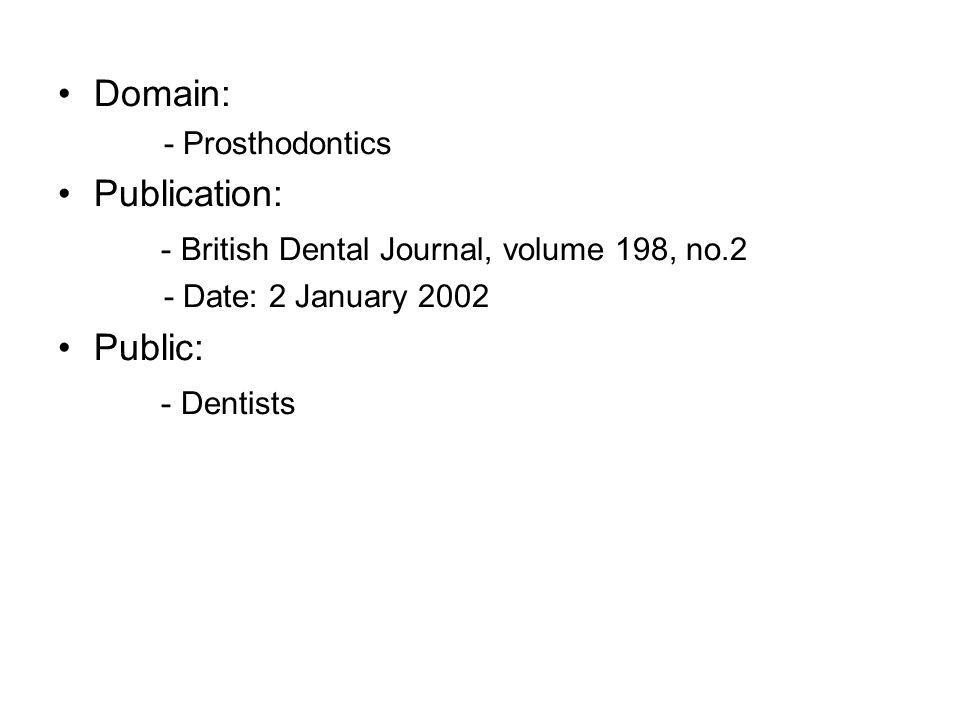 Domain: - Prosthodontics Publication: - British Dental Journal, volume 198, no.2 - Date: 2 January 2002 Public: - Dentists