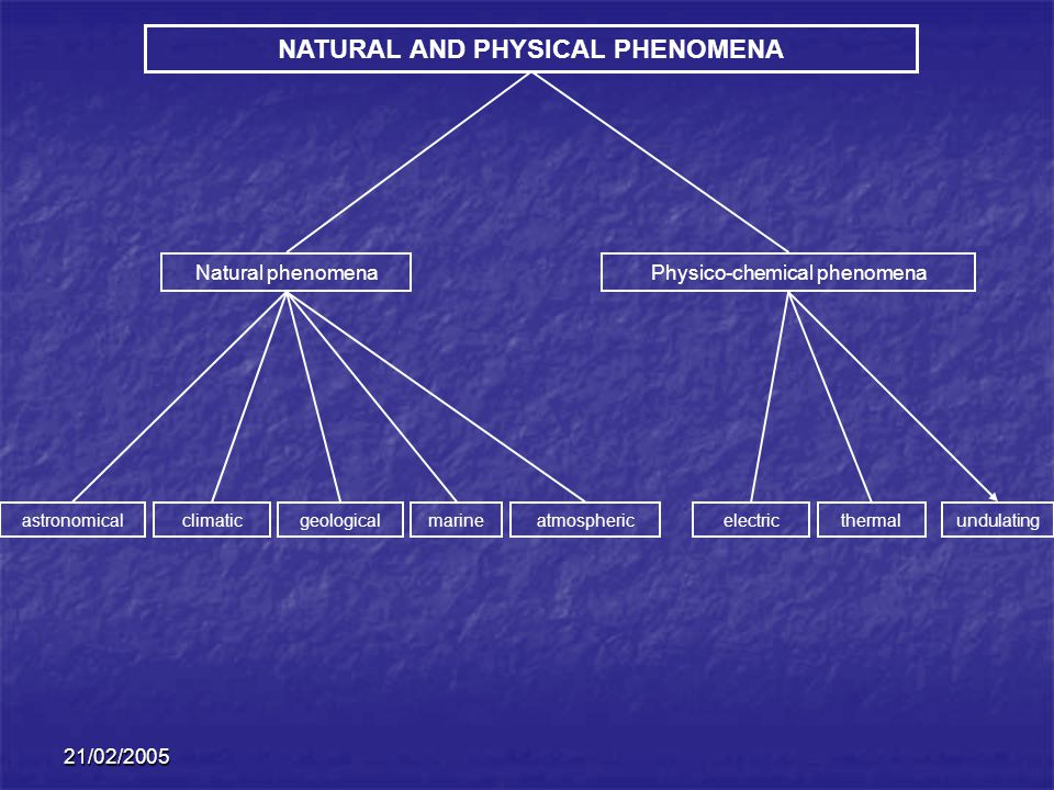 21/02/2005 NATURAL AND PHYSICAL PHENOMENA Natural phenomenaPhysico-chemical phenomena astronomicalclimaticgeological marineatmosphericelectricthermal