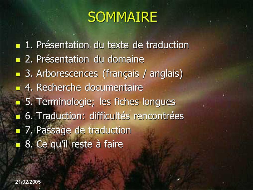 21/02/2005 SOMMAIRE 1. Présentation du texte de traduction 1. Présentation du texte de traduction 2. Présentation du domaine 2. Présentation du domain