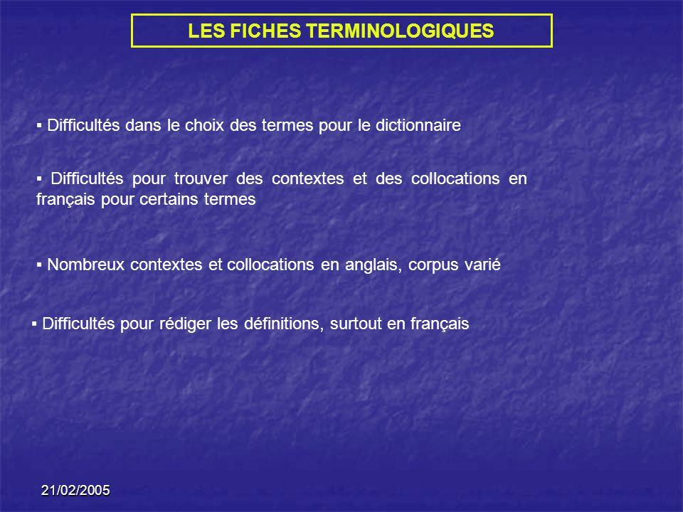 21/02/2005 LES FICHES TERMINOLOGIQUES Difficultés dans le choix des termes pour le dictionnaire Difficultés pour trouver des contextes et des collocat