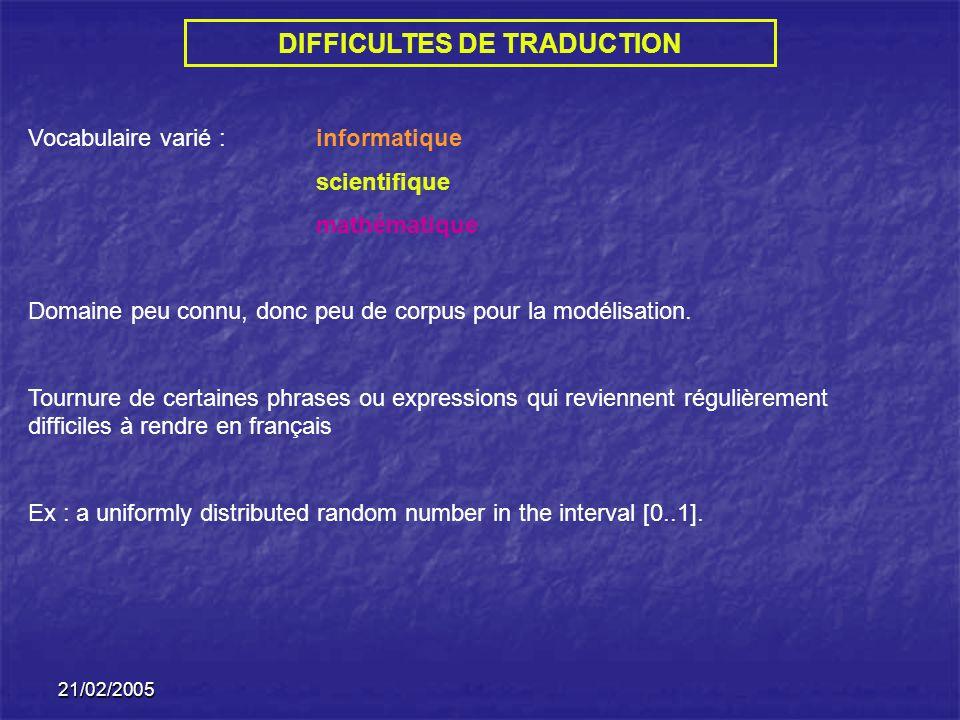 21/02/2005 Vocabulaire varié : informatique scientifique mathématique Domaine peu connu, donc peu de corpus pour la modélisation.