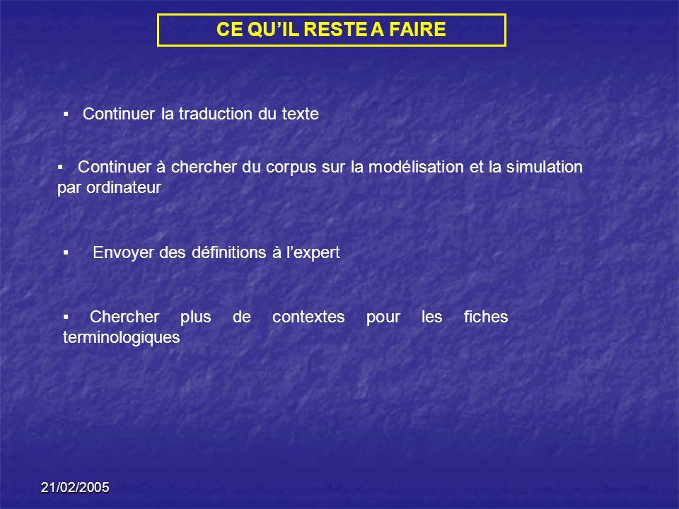 21/02/2005 CE QUIL RESTE A FAIRE Continuer la traduction du texte Continuer à chercher du corpus sur la modélisation et la simulation par ordinateur E