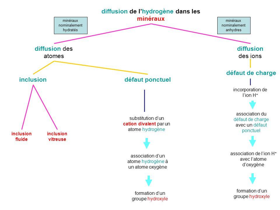 diffusion de lhydrogène dans les minéraux diffusion des atomes diffusion des ions inclusiondéfaut ponctuel inclusion fluide inclusion vitreuse substit