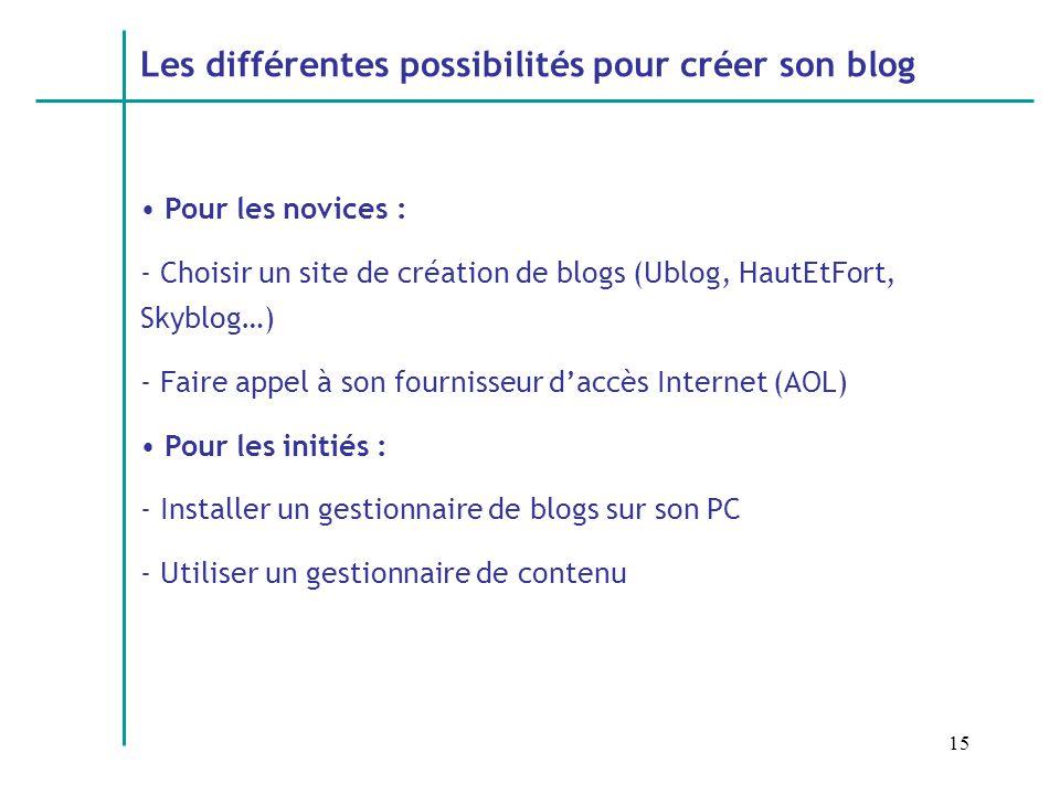 15 Les différentes possibilités pour créer son blog Pour les novices : - Choisir un site de création de blogs (Ublog, HautEtFort, Skyblog…) - Faire appel à son fournisseur daccès Internet (AOL) Pour les initiés : - Installer un gestionnaire de blogs sur son PC - Utiliser un gestionnaire de contenu