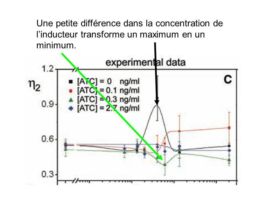 Une petite différence dans la concentration de linducteur transforme un maximum en un minimum.