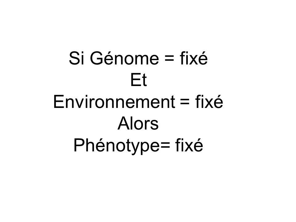 Si Génome = fixé Et Environnement = fixé Alors Phénotype= fixé