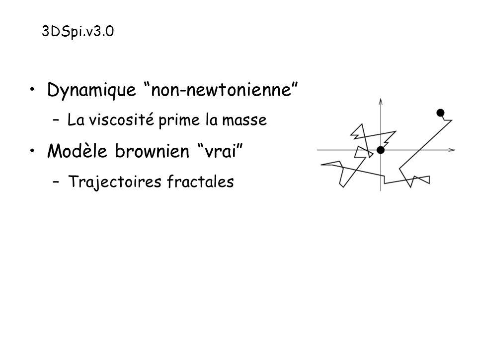 Dynamique non-newtonienne –La viscosité prime la masse Modèle brownien vrai –Trajectoires fractales 3DSpi.v3.0