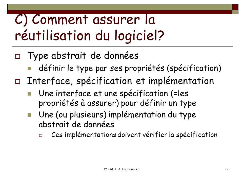 POO-L3 H.Fauconnier12 C) Comment assurer la réutilisation du logiciel.