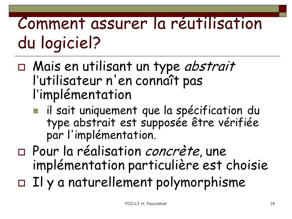 POO-L3 H.Fauconnier14 Comment assurer la réutilisation du logiciel.