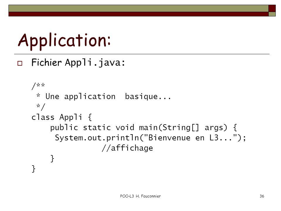 POO-L3 H.Fauconnier36 Application: Fichier Appli.java: /** * Une application basique...