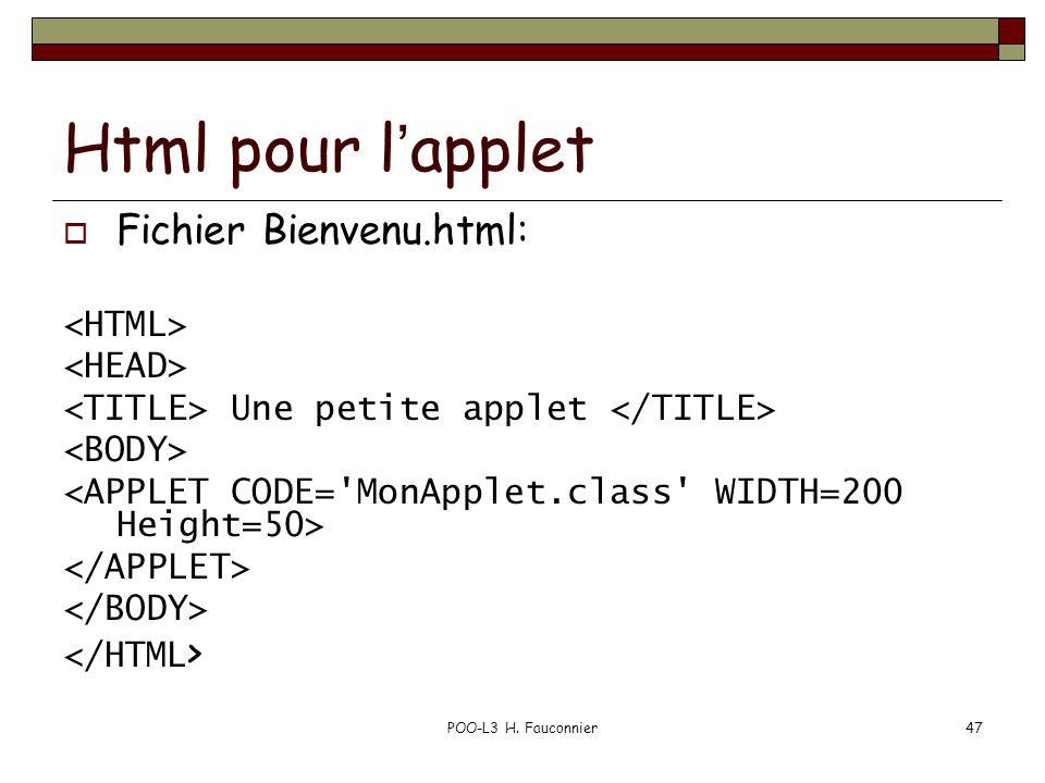 POO-L3 H. Fauconnier47 Html pour lapplet Fichier Bienvenu.html: Une petite applet