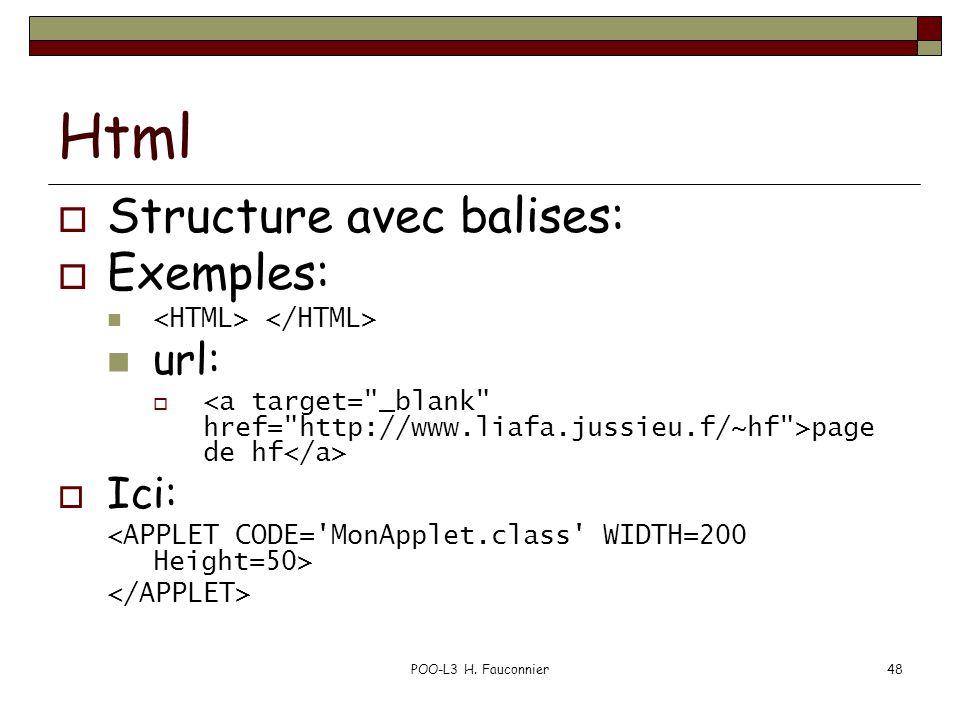 POO-L3 H. Fauconnier48 Html Structure avec balises: Exemples: url: page de hf Ici: