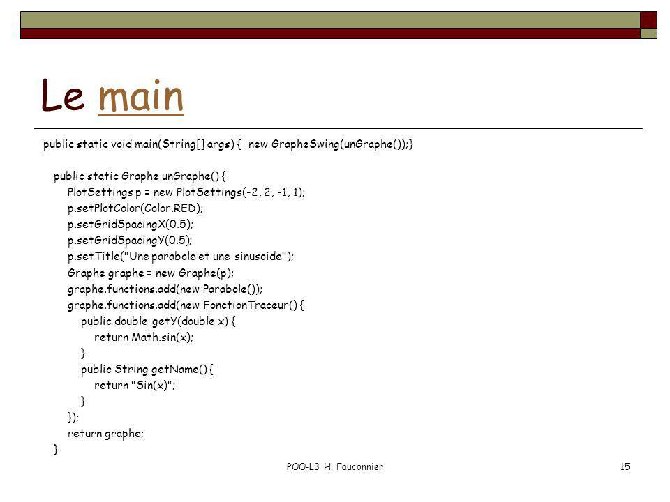 Le mainmain public static void main(String[] args) { new GrapheSwing(unGraphe());} public static Graphe unGraphe() { PlotSettings p = new PlotSettings