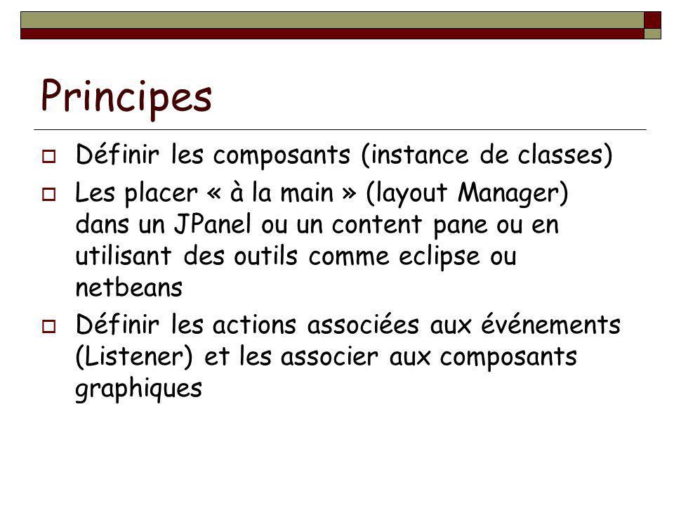 Principes Définir les composants (instance de classes) Les placer « à la main » (layout Manager) dans un JPanel ou un content pane ou en utilisant des