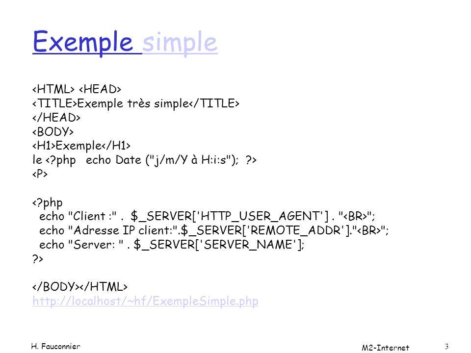 M2-Internet 4 Résultat Exemple le 8/11/2006 à 15:54:29 Client :Mozilla/4.0 (compatible; MSIE 7.0; Windows NT 5.1;.NET CLR 1.1.4322; InfoPath.1) Adresse IP client:127.0.0.1 Server: localhost H.