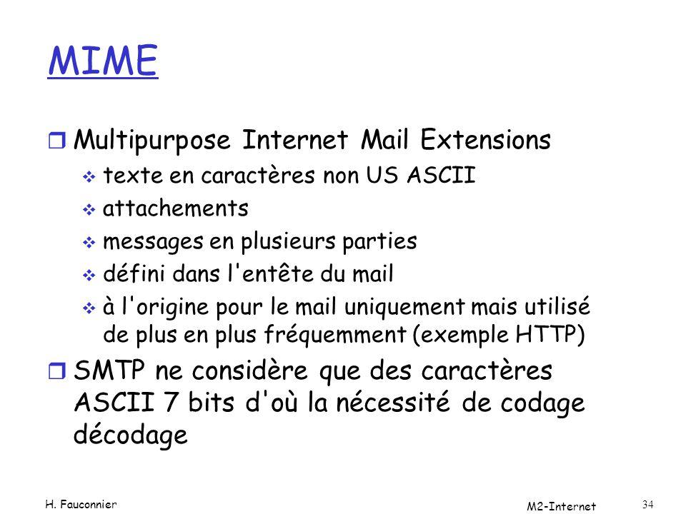 M2-Internet 34 MIME r Multipurpose Internet Mail Extensions texte en caractères non US ASCII attachements messages en plusieurs parties défini dans l'