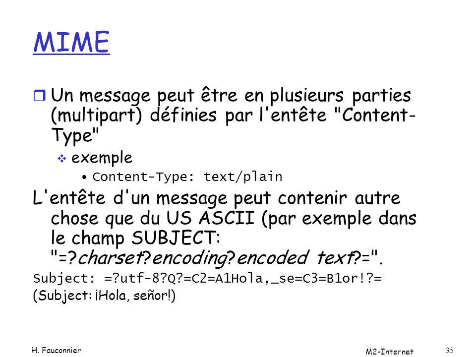 M2-Internet 35 MIME r Un message peut être en plusieurs parties (multipart) définies par l'entête