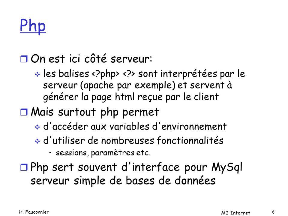 M2-Internet 6 Php r On est ici côté serveur: les balises sont interprétées par le serveur (apache par exemple) et servent à générer la page html reçue
