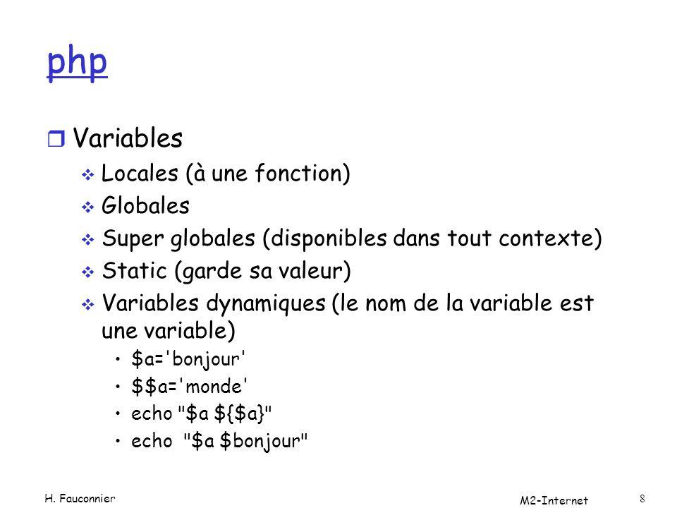 M2-Internet 9 php r tableaux indicés $tab[0]= un ; $tab=array( un , deux , trois ); associatifs $m=array( un => one , deux => two ); $m[ trois ]= three ; next() prev() key() current do {echo Clé=key($m).Valeur= current($m) } while(next($mes)); foreach($m as $cle =>$val) {echo Clé=$cle.Valeur=$val ;} H.