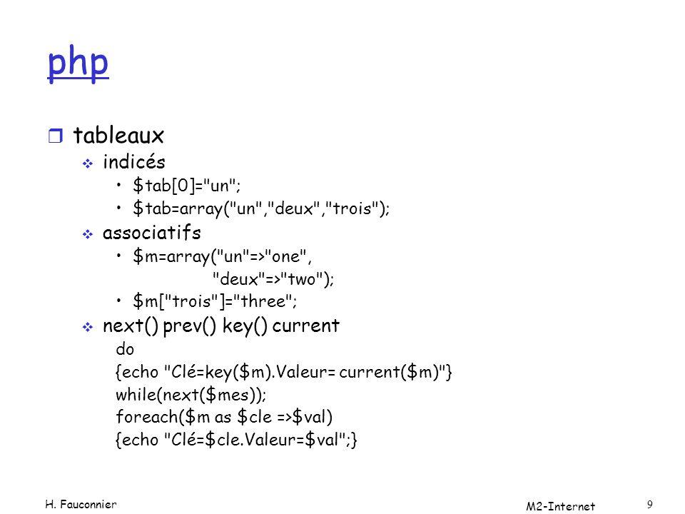 php r Mais aussi (php4 et php5) Programmation orientée objets Classes et Objets Liaison dynamique Constructeurs … Exceptions M2-Internet 10 H.