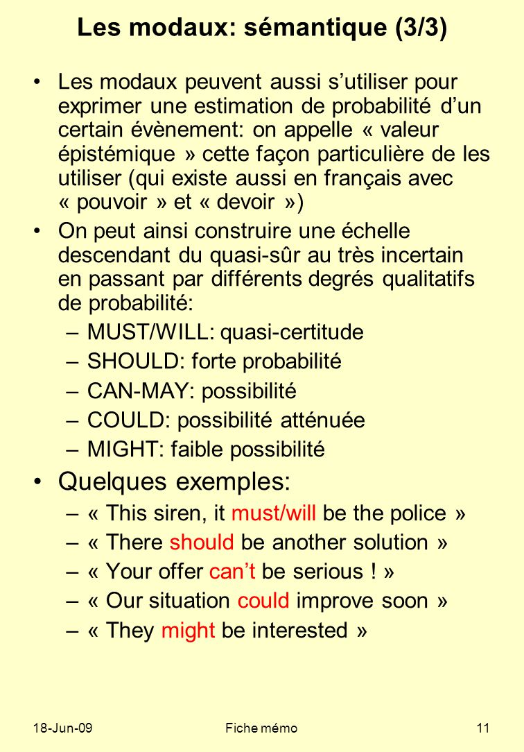 18-Jun-09Fiche mémo11 Les modaux: sémantique (3/3) Les modaux peuvent aussi sutiliser pour exprimer une estimation de probabilité dun certain évènement: on appelle « valeur épistémique » cette façon particulière de les utiliser (qui existe aussi en français avec « pouvoir » et « devoir ») On peut ainsi construire une échelle descendant du quasi-sûr au très incertain en passant par différents degrés qualitatifs de probabilité: –MUST/WILL: quasi-certitude –SHOULD: forte probabilité –CAN-MAY: possibilité –COULD: possibilité atténuée –MIGHT: faible possibilité Quelques exemples: –« This siren, it must/will be the police » –« There should be another solution » –« Your offer cant be serious .
