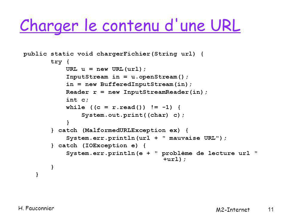 Charger le contenu d'une URL public static void chargerFichier(String url) { try { URL u = new URL(url); InputStream in = u.openStream(); in = new Buf