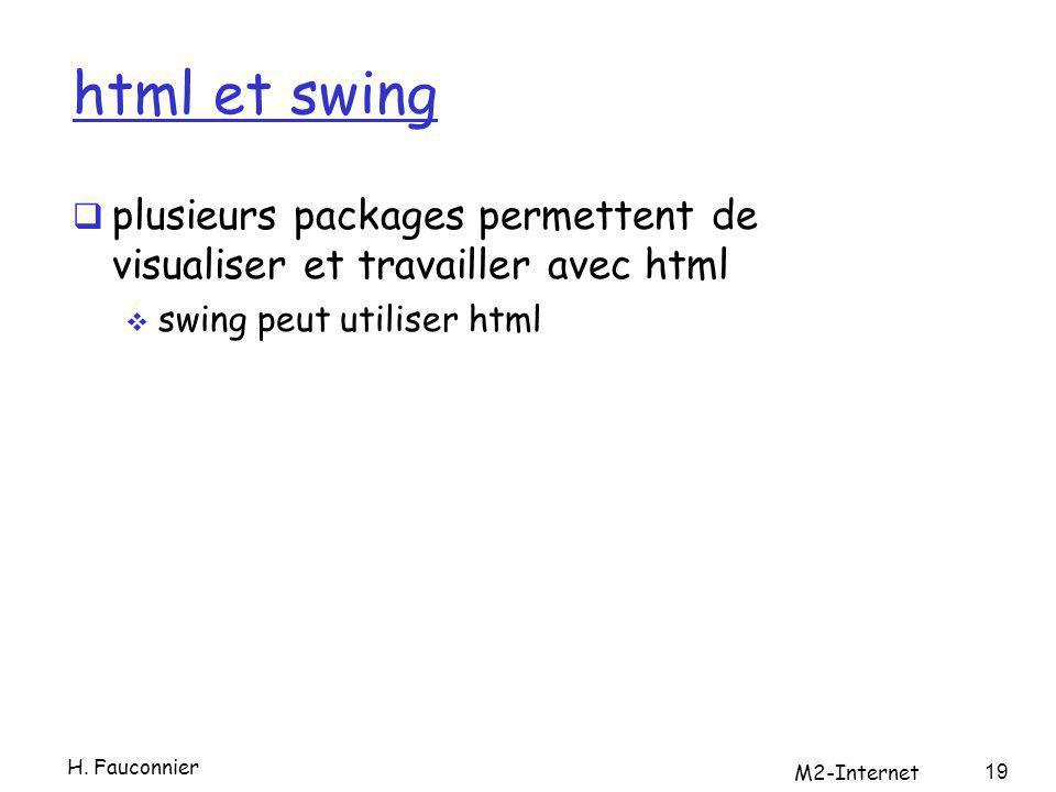 html et swing plusieurs packages permettent de visualiser et travailler avec html swing peut utiliser html H. Fauconnier M2-Internet 19