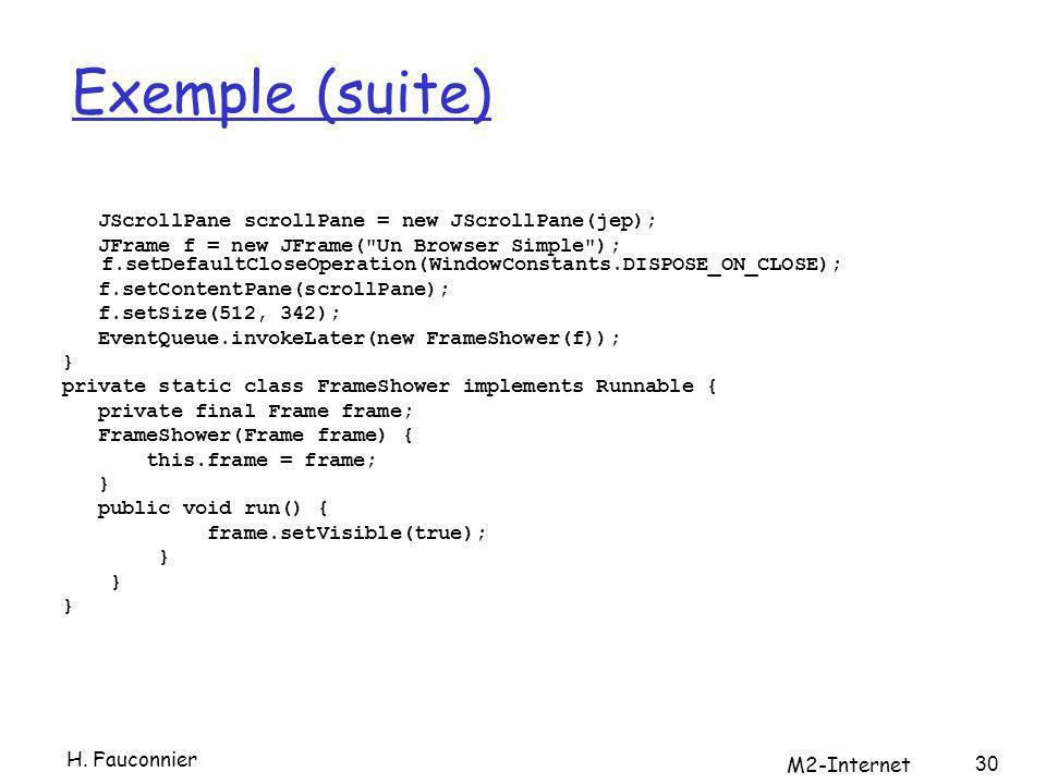 Exemple (suite) JScrollPane scrollPane = new JScrollPane(jep); JFrame f = new JFrame(