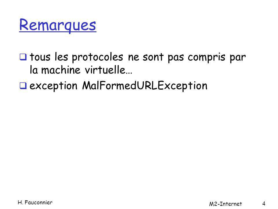Remarques tous les protocoles ne sont pas compris par la machine virtuelle… exception MalFormedURLException H. Fauconnier M2-Internet 4