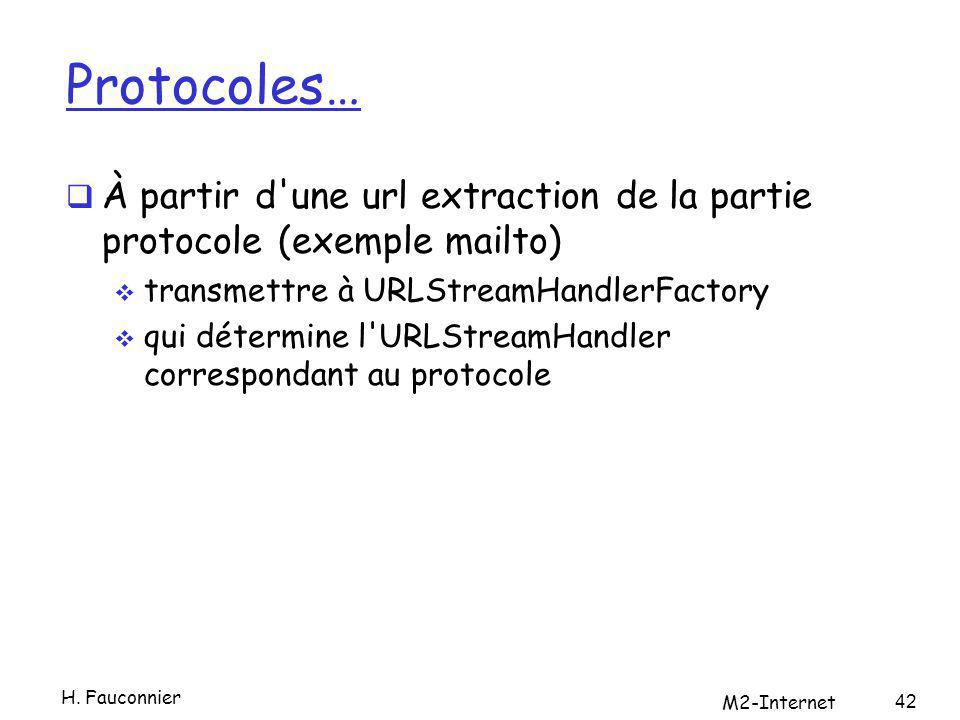 Protocoles… À partir d une url extraction de la partie protocole (exemple mailto) transmettre à URLStreamHandlerFactory qui détermine l URLStreamHandler correspondant au protocole H.