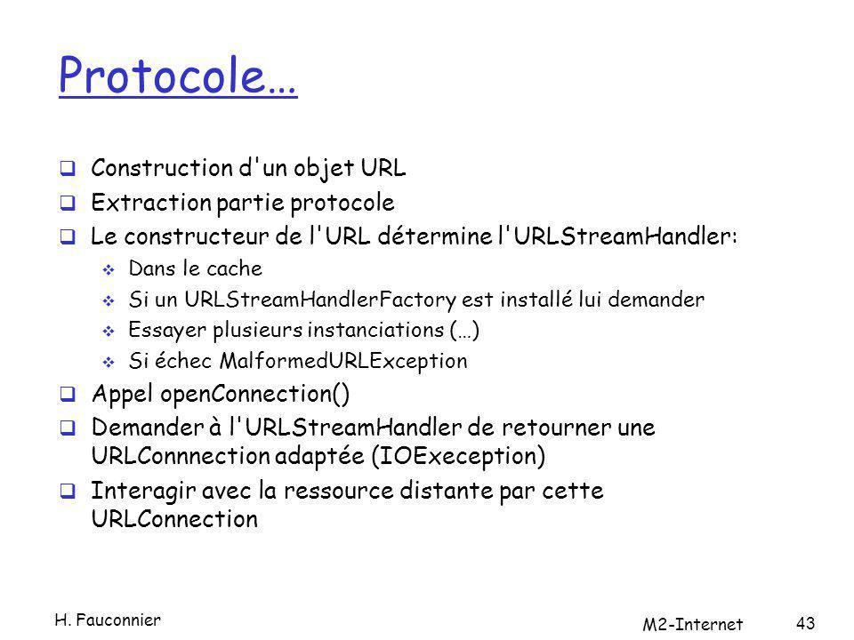 Protocole… Construction d'un objet URL Extraction partie protocole Le constructeur de l'URL détermine l'URLStreamHandler: Dans le cache Si un URLStrea