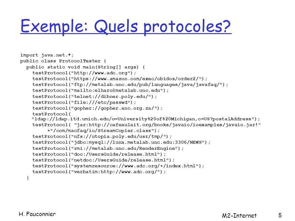 Date dernière modification public class DerniereModif { public static void main(String args[]) { for (int i=0; i < args.length; i++) { try { URL u = new URL(args[i]); HttpURLConnection http=(HttpURLConnection)u.openConnection(); http.setRequestMethod( HEAD ); System.out.println(u + a été modifiée + new Date(http.getLastModified())); } // end try catch (MalformedURLException ex) { System.err.println(args[i] + URL?? ); } catch (IOException ex) { System.err.println(ex); } } // end for } // end main } // end DernierModif H.