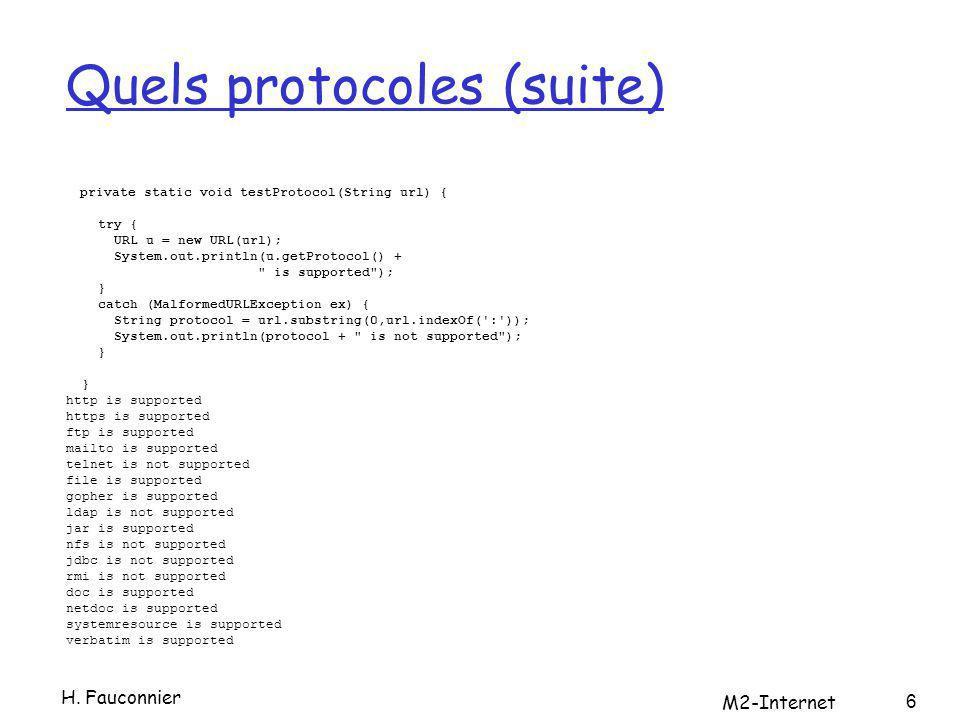 Décomposer l url public static void decomposeURL(String st) { try{ URL u = new URL(st); System.out.println( URL : + u); System.out.println( Protocole : + u.getProtocol( )); System.out.println( UserInfo : + u.getUserInfo( )); String host = u.getHost( ); if (host != null) { int atSign = host.indexOf( @ ); if (atSign != -1) host = host.substring(atSign+1); System.out.println( hôte + host); } else { System.out.println( hôte null. ); } H.