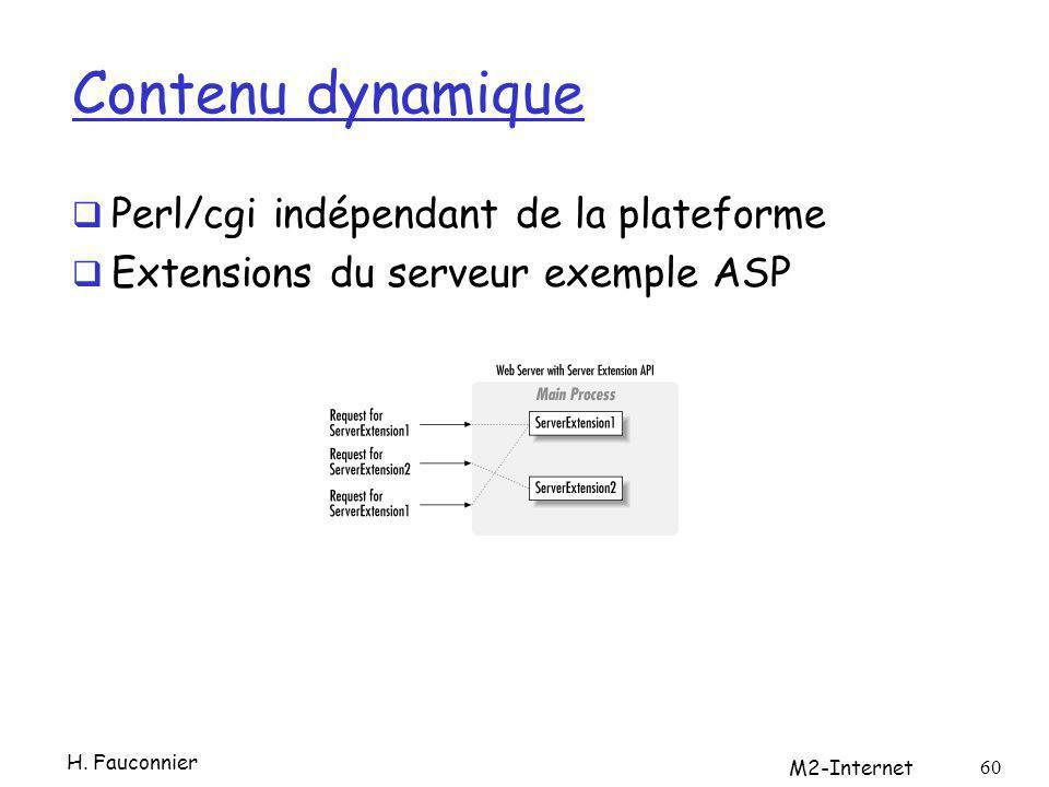 Contenu dynamique Perl/cgi indépendant de la plateforme Extensions du serveur exemple ASP H. Fauconnier M2-Internet 60