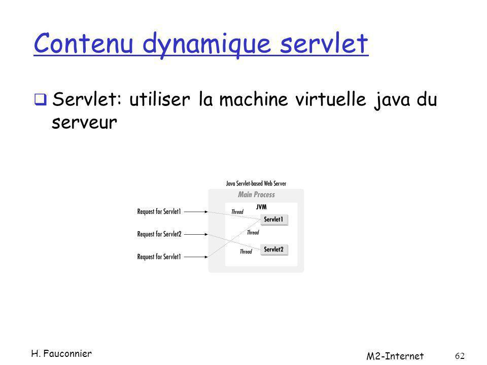 Contenu dynamique servlet Servlet: utiliser la machine virtuelle java du serveur H. Fauconnier M2-Internet 62
