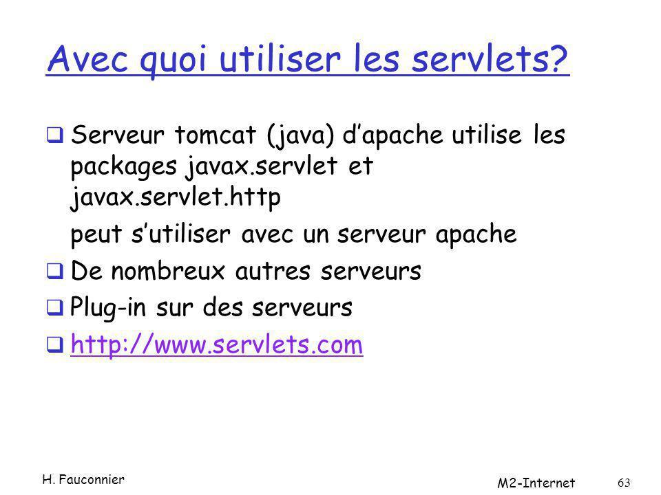 Avec quoi utiliser les servlets? Serveur tomcat (java) dapache utilise les packages javax.servlet et javax.servlet.http peut sutiliser avec un serveur