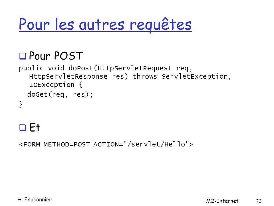 Pour les autres requêtes Pour POST public void doPost(HttpServletRequest req, HttpServletResponse res) throws ServletException, IOException { doGet(req, res); } Et H.